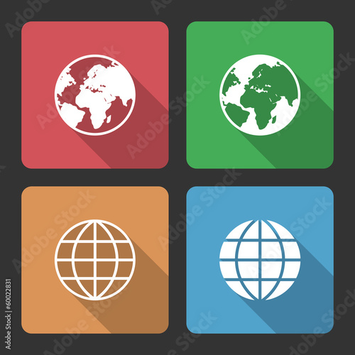 Globe Earth Icons with Long Shadow
