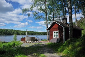 finnish sauna and hot tub