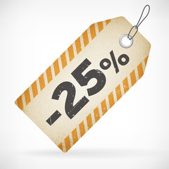 Realistic paper 25% sale off price labels