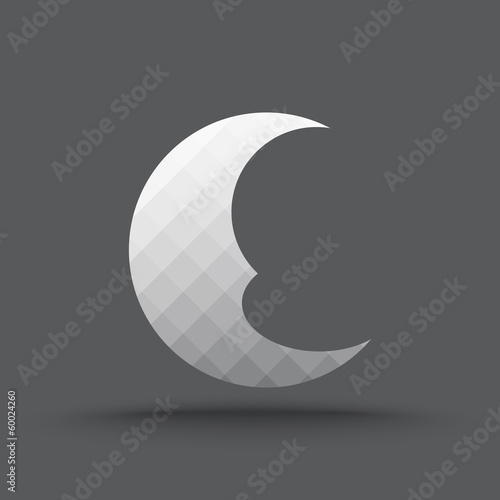 Vector of transparent crescent moon icon on isolated background