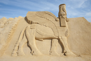 Sand sculpture of Lamassu deity