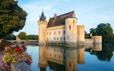 The chateau of Sully-sur-Loire at sunset, France