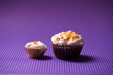 chocolate velvet cupcakes with vanilla ice cream topping