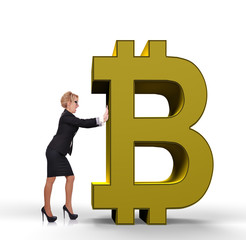 businesswoman pushing bitcoin