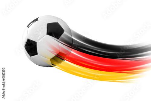 Leinwanddruck Bild Fußball mit Deutschlandspur