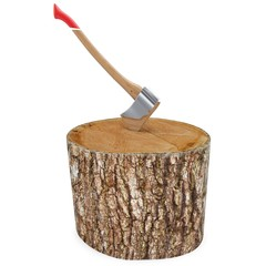 3d log with axe deforestation concept