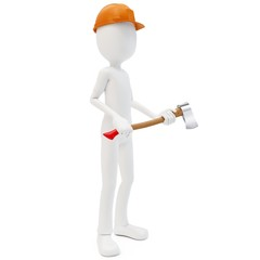 3d man with axe and hardhat fireman