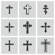 Vector black christia crosses icons set - 60027622