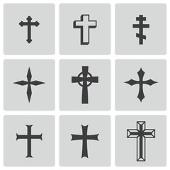 Vector black christia crosses icons set
