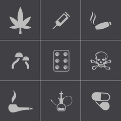 Vector black drugs icons set