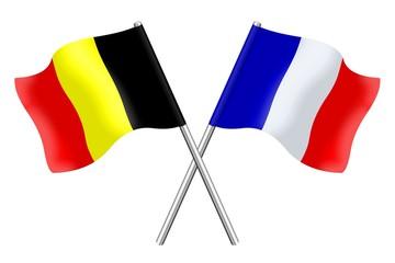 Drapeaux : duo Belgique France
