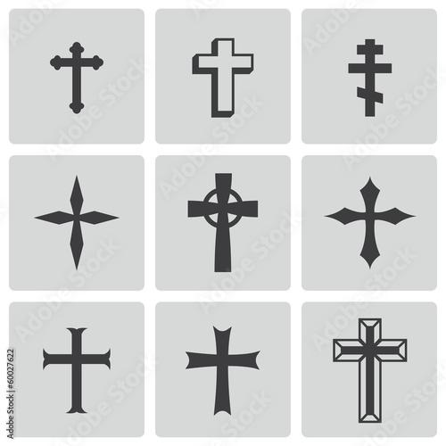 Vector black christia crosses icons set - 60027622