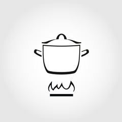 Cooking pan on the fire. Icon or sign.