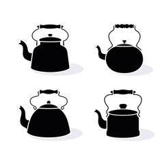 Set of different kettle icons.