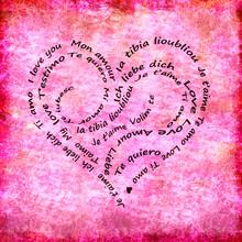 Calligramme Miłość różowe tło słowa