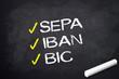 Kreidetafel mit SEPA, IBAN und BIC