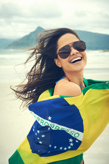 BRasil flag woman fan