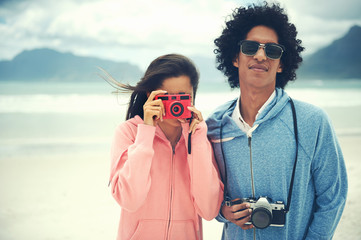 couple taking pictures together