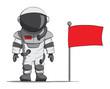 Cartoon astronaut with a flag. Vector illustration - 60030083