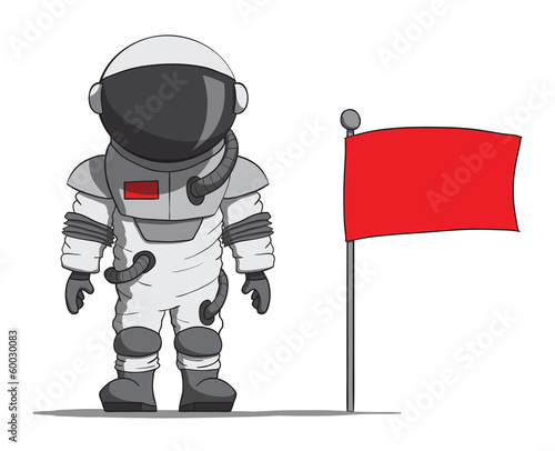 Cartoon astronaut with a flag. Vector illustration