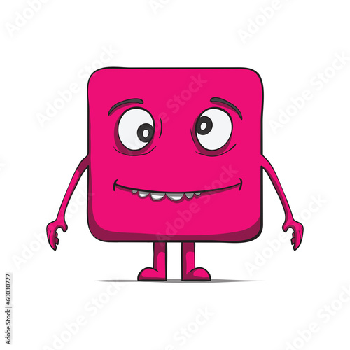 Funny stupid cube dude. Square character. Vector illustration