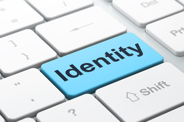 Privacy concept: Identity on computer keyboard background