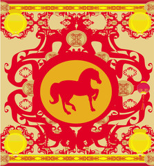 Year of Horse - Happy Chinese New Year Vector Card Design