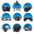 photo accessories icon set