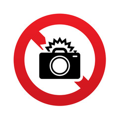 No Photo camera sign icon. Photo flash symbol.