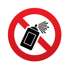 No Graffiti spray sign icon. Aerosol paint symbol