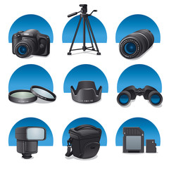photo accessories icon set