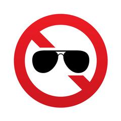 No Aviator sunglasses sign. Pilot glasses button