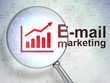 Advertising concept: Growth Graph and E-mail Marketing with
