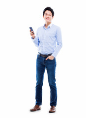 Young Asian man using phone