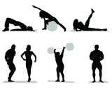 Silhouettes of fitness and bodybuilding,vector