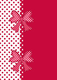 Red and white polka dot border with gift bows and ribbon