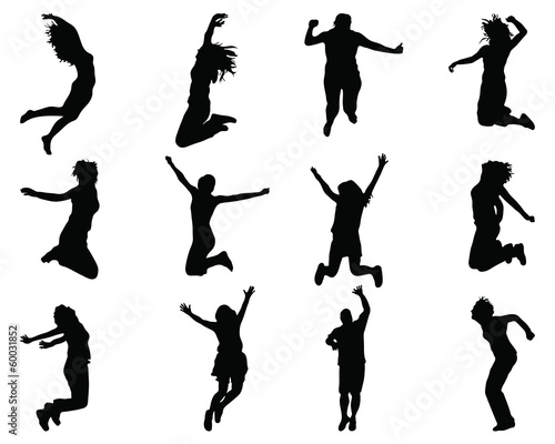 Silhouettes of jumping of people, vector