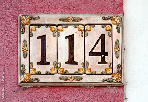 Poster house number sign