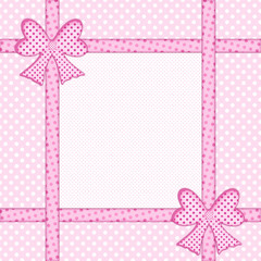 Pink polka dot background with gift bows and ribbons