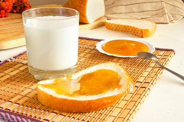 glass of milk and toast with honey