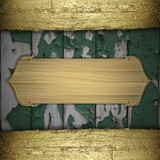 Green wooden background with gold texture stripe layout