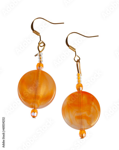 Earrings made of plastic on a white background