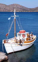 Fishing boat in Mirabello Bay, Crete,Greece