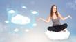Happy girl looking at modern cloud network
