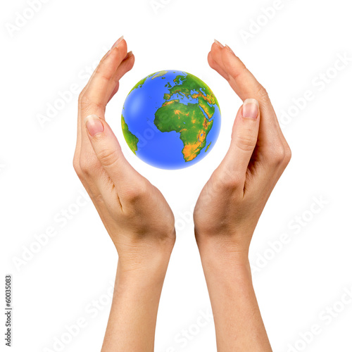 earth globe in female hands