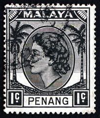 Postage stamp Malaya 1957 Queen Elizabeth II