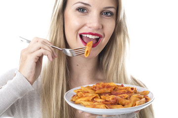 Young Woman Eating Penne Pasta