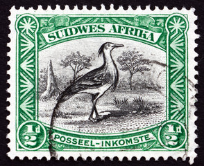 Postage stamp South West Africa 1931 Kori Bustard, Bird