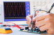 Leinwanddruck Bild - development of an electronic micro processor