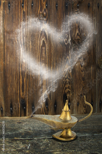 Alladin's lamp with smoke heart